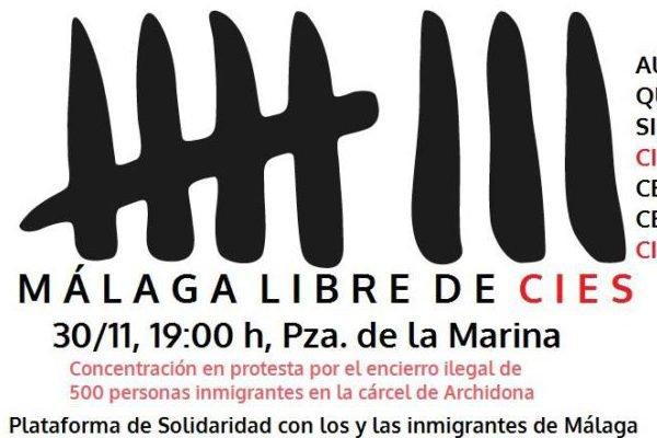 """Concentración en rechazo al encierro """"ilegal"""" de inmigrantes en la cárcel de Archidona"""
